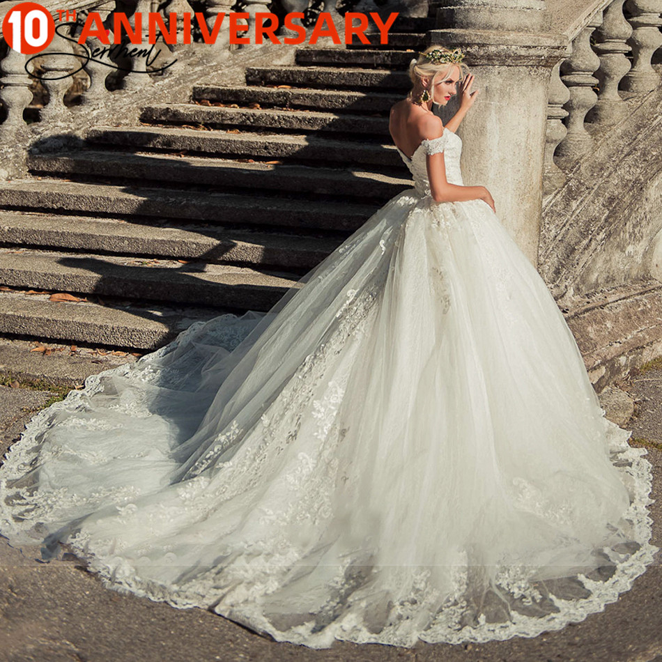 BAZIIINGAAA  Luxury Wedding Dress V-neck Card Shoulder Wedding Dress Sexy Backless 3D Decal Bride Support Tailor-made