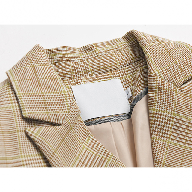 Spring New Arrival Office Ladies Casual Plaid Blazer Women Elegant Double Breasted Sashes Slim Fashion Suit Jackets