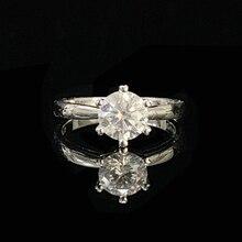 925 シルバーリング 1ct ラボダイヤモンドジュエリーモアッサナイト Ring ラウンドブリリアントカットアニバーサリーリング女性