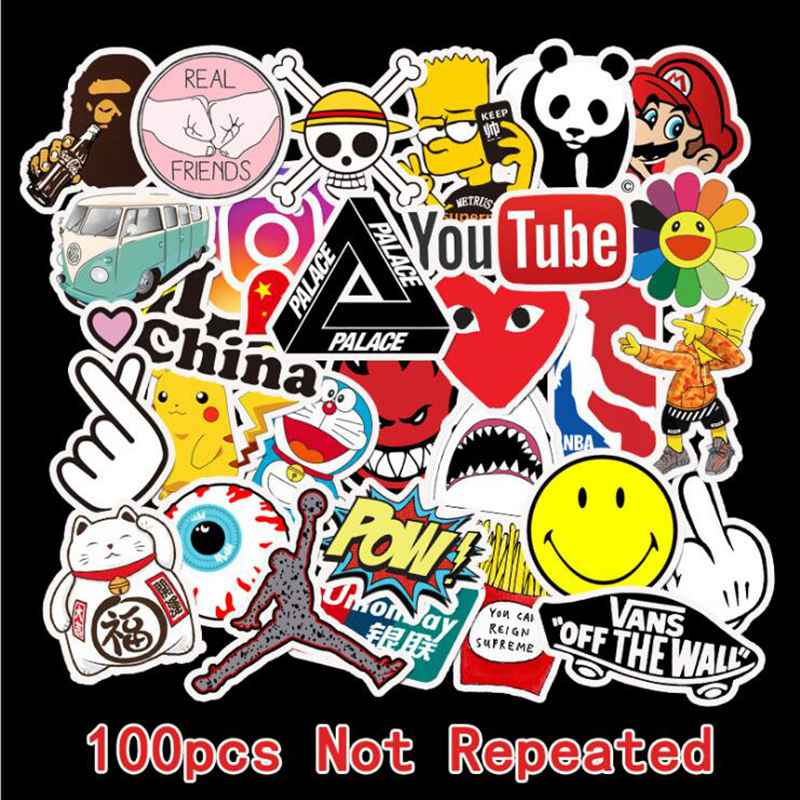 100 PCS Not Repeating Suitcase Guitar Fashion Cute Brand Logo Waterproof Sticker Skateboard Mobile Phone Laptop Bicycle Sticker