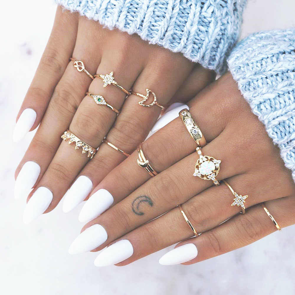 13Pcs/Set Bohemian Star Moon Opals Finger Ring Set Fashion Gold Crown Knuckle Midi Rings Lot Women Jewelry Wedding Party Gift