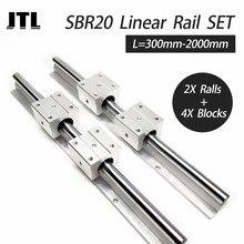 Guide de rail linéaire 20mm + 4 pièces SBR20UU, bloc de roulement à billes, routeur cnc, 2 pièces