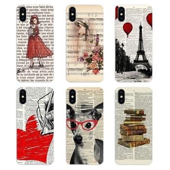 Silikonowy telefon obudowa do Xiaomi mi 6 mi 6 A1 Max mi x 2 5X 6X czerwony mi uwaga 5 5A 4X 4A A4 4 3 Plus Pro Art z nadrukiem w stylu Vintage sukienka z przetworzonych książki