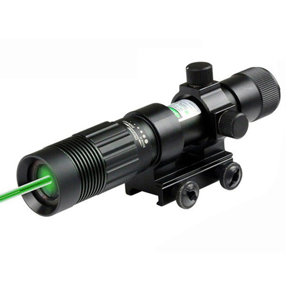 Tactical Hunting 5mW Green Laser Sight Scope Focus Windage Adjustable with 20mm Picatinny Rail Mount and Tail Line Switch.