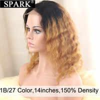 Spark 4*4 Peluca de encaje con cierre Ombre brasileño, peluca de onda profunda 100% pelucas de cabello humano, peluca de encaje de cierre HD para mujeres negras Remy
