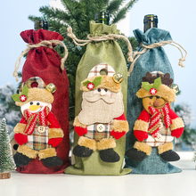 Christmas Red Wine Bottle Covers Bag Linen Champagne Doll set for Restaurant Bar Home decor