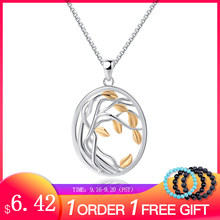 SA SILVERAGE 925 Sterling Silver Tree of Life Pendant Necklaces for Women Gold Color Silver Long Maxi Chain Necklace Chokers(China)