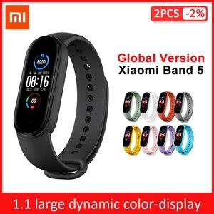 Image 1 - שיאו mi mi Band 3 4 הגלובלי גרסה חכם צמיד כושר צמיד להקת שעון 3 גדול מגע מסך הודעה קצב לב זמן Smartband