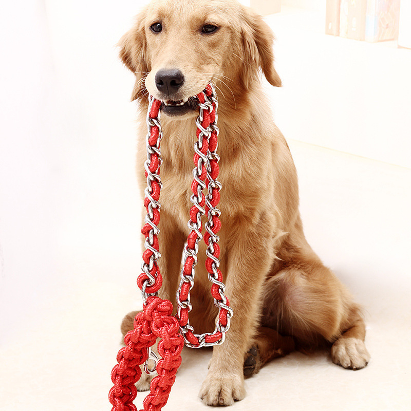 Dog Hand Holding Rope Iron Chain Medium Large Dog Golden Retriever Labrador Anti-Bite Iron Chain Nickel-Plated Anti-Rust Neck Ri