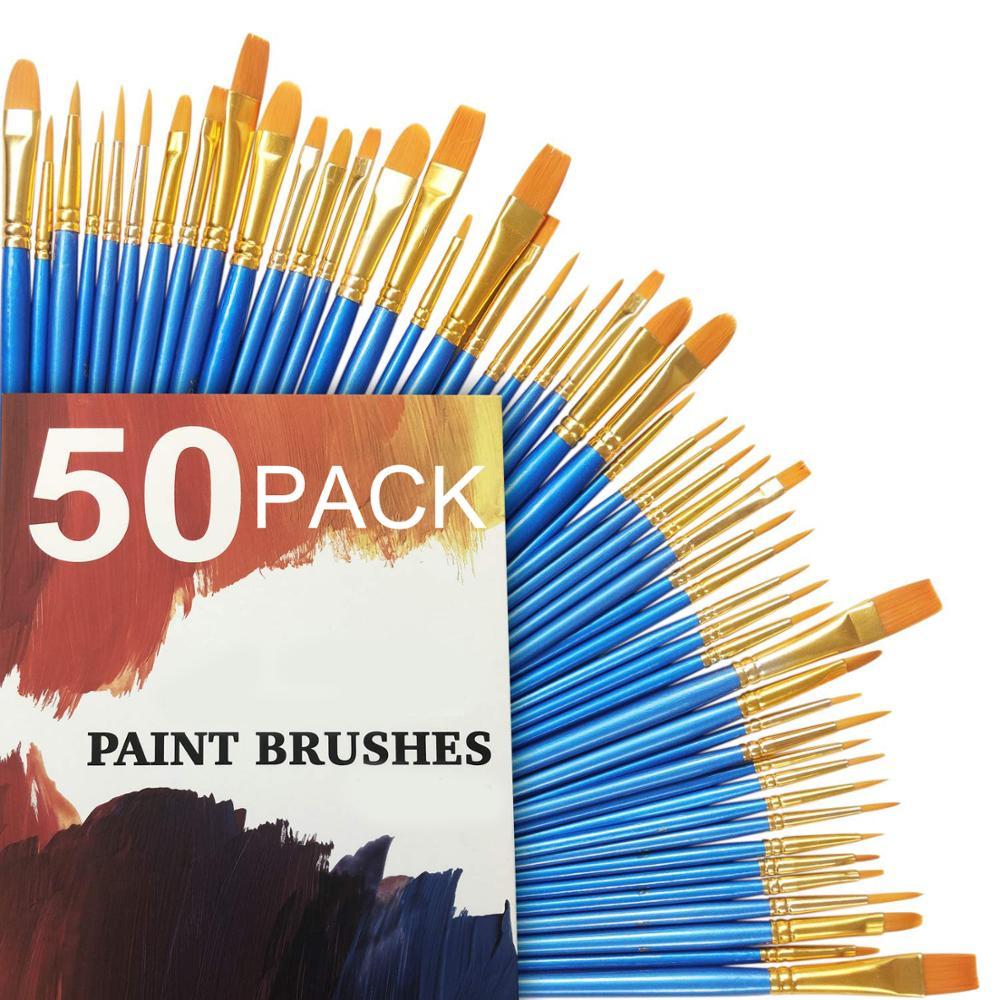 50Pcs Detail Paint Brush Set Professional Synthetic Short Handle Brush Art Brush Supplies Watercolor Oil Paint Brush Set