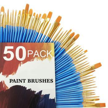 50Pcs Detail Paint Brush Set Professional Synthetic Short Handle Art Supplies Watercolor Oil