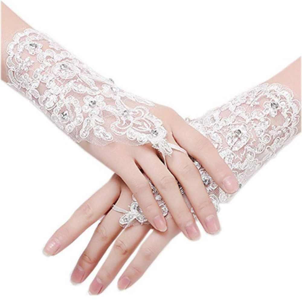 ホワイトアイボリーレッドショートウェディングドレス手袋手首の長さレースアップリケスパンコールブライダル手袋の結婚式のアクセサリー