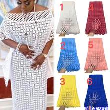 Tissu africain en dentelle Guipure blanche, de haute qualité, Soluble dans l'eau, nigérian, pour fête, 2021