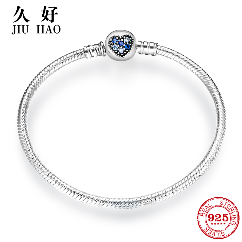 925 Sterling Silver Heart Shape Pave Colorful blue crystal CZ Snake Chain womens Bracelets Bangle Charms for Jewelry making(China)