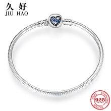 925 ayar gümüş kalp şekli açacağı renkli mavi kristal CZ yılan zincir bayan bilezik bileklik takılar takı yapımı için