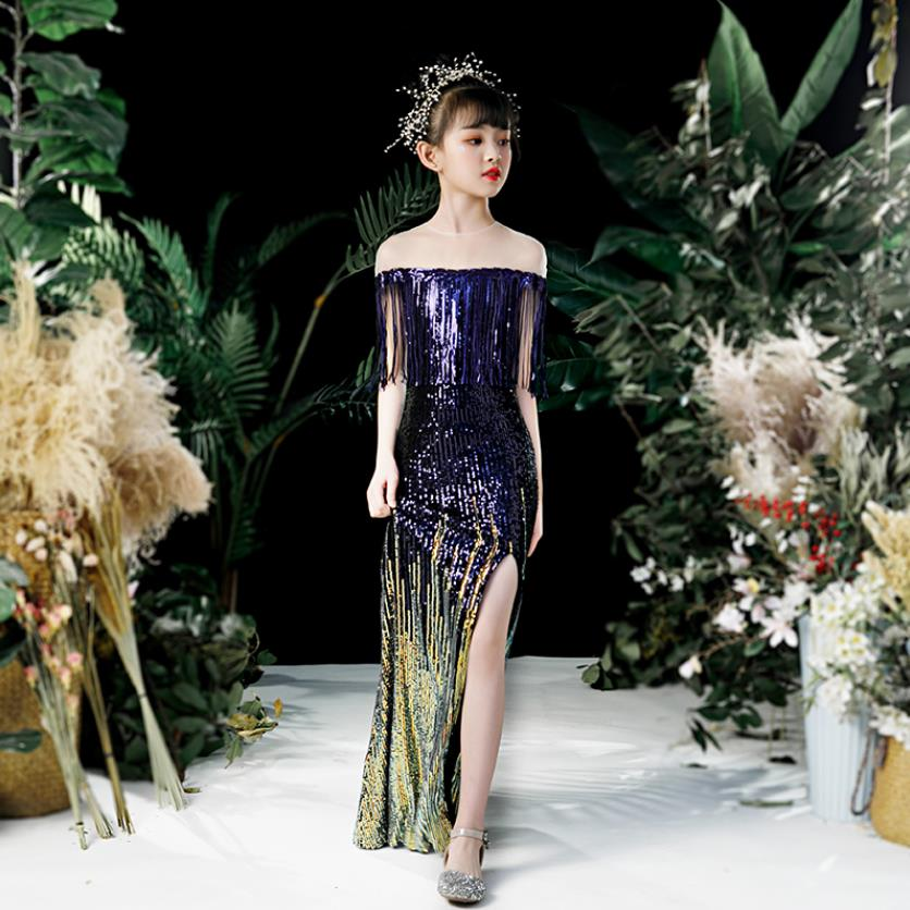 Elegant Princess Sequined Evening Dress Sexy Split Tassel Gowns Wedding Birthday Party Catwalk Mermaid Dress For girl Y2838