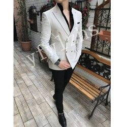 Красивый мужской двубортный смокинг жениха, мужской свадебный пиджак, блейзер для выпускного вечера (пиджак + брюки + галстук) A088