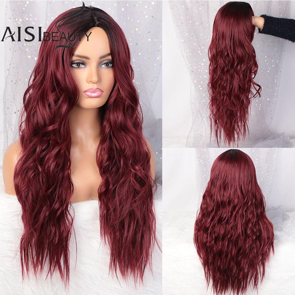 Aisi beleza longo ondulado perucas para preto feminino vinho vermelho cosplay perucas sintéticas para cabelo médio divisão