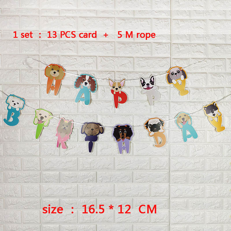 1 Set Cartoon Pet Dog Happy Birthday Decoration Garlands Wedding Supplies Babyshower Wreath Candy Bunting Slingers Party Decor in Banners Streamers Confetti from Home Garden