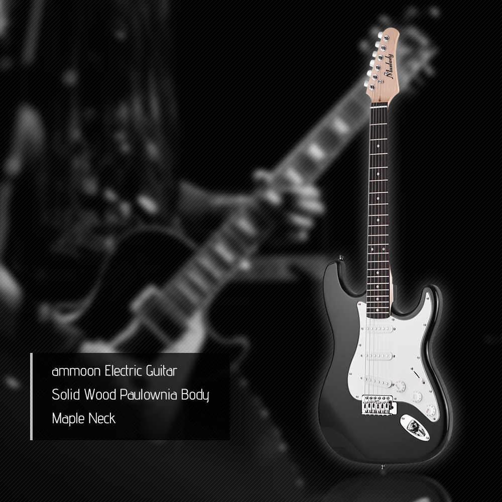 Muslady Electric Guitar Solid Wood Paulownia Body Maple Neck 21 Frets 6 String with Speaker Pitch Pipe Guitar Bag Strap Picks