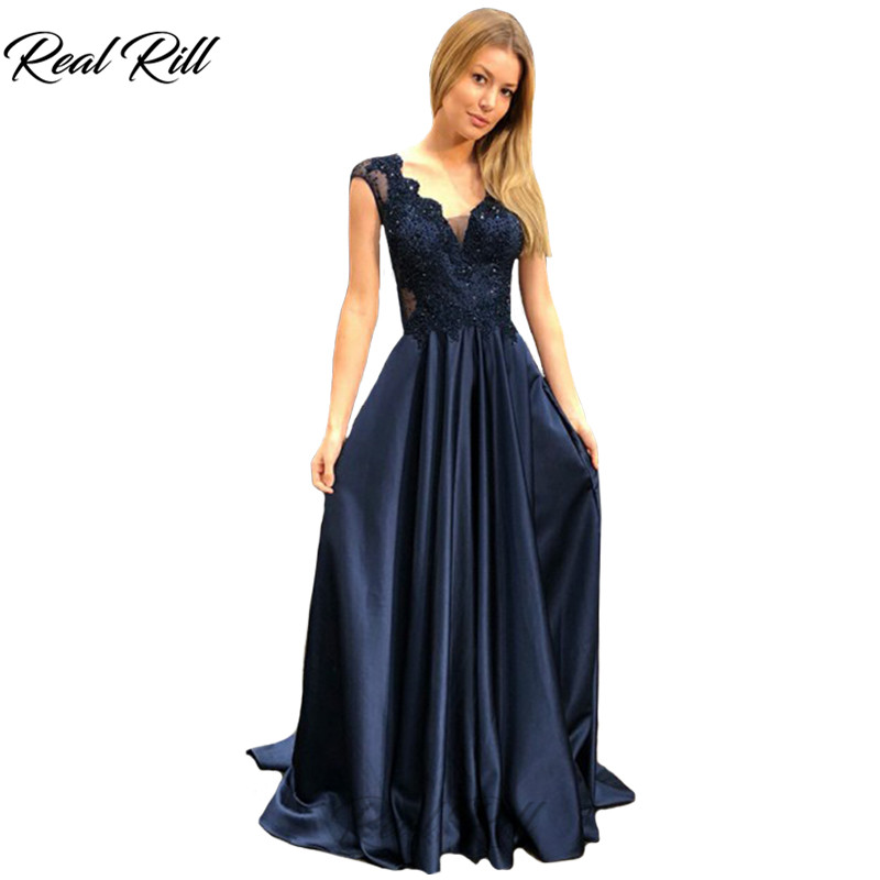 Real Rill V-Neck   Prom     Dresses   With Lace Bodice 2019 Zipper Up Back Floor Length A-Line Pleated Long   Dress   For Party