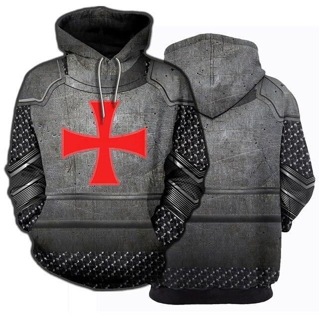 3D Printed Knights Armor Templar Tops Streetwear Hoodie Long Sleeve Pullover Hoodie