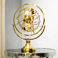 Rotating globe decoration high grade luxury European office model room TV cabinet ornaments metal handicrafts home decoration