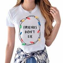 Женская футболка с принтом «странные вещи», свободная футболка с коротким рукавом и круглым вырезом, футболки с надписью «Friends Dont Lie Pritting», топы, Футболка Harajuku, Корейская
