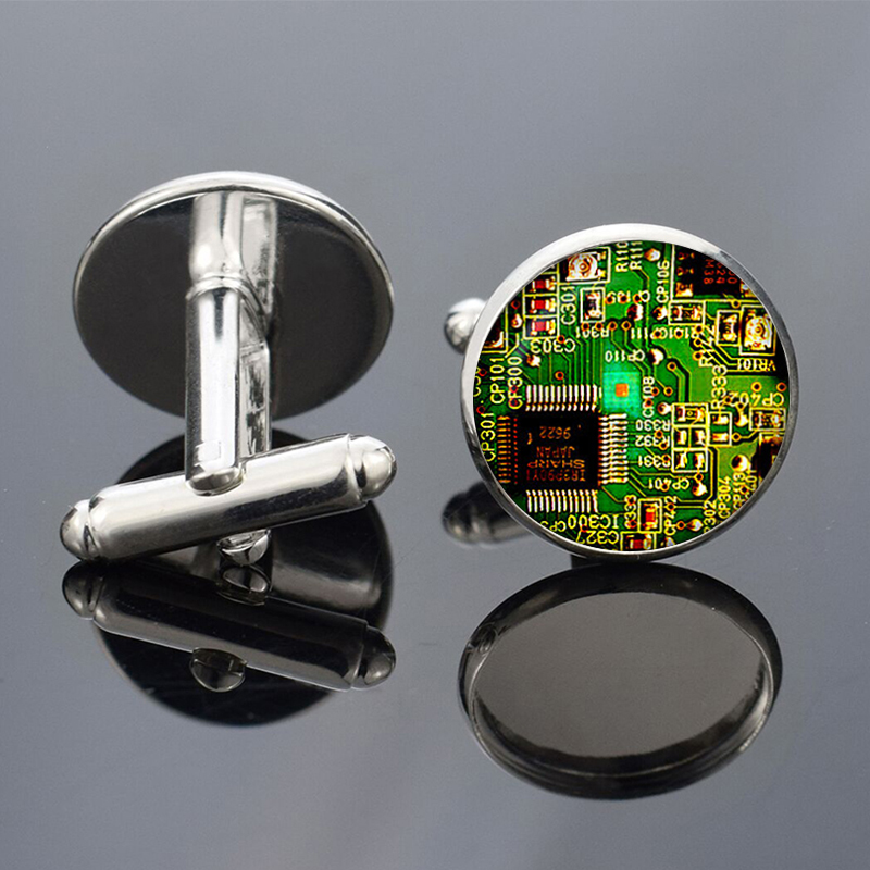 1 Pair Circuit Board Picture Cufflinks Computer Geek Cufflinks Men Fashion Silver Metal Wedding Cufflinks Nerd Geek Gift