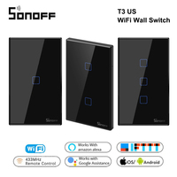 Itead Sonoff T3 US 1/2/3 gang TX 433Mhz RF Remoted Controlled Wifi Touch Switch With Border Works With Alexa Google Home IFTTT