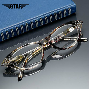 +1 + To +4 Rhinestone Cat Eye Reading Glasses for Farsighted Floral Women's Spectacles with Diopters Fashion Degree Eyeglasses image