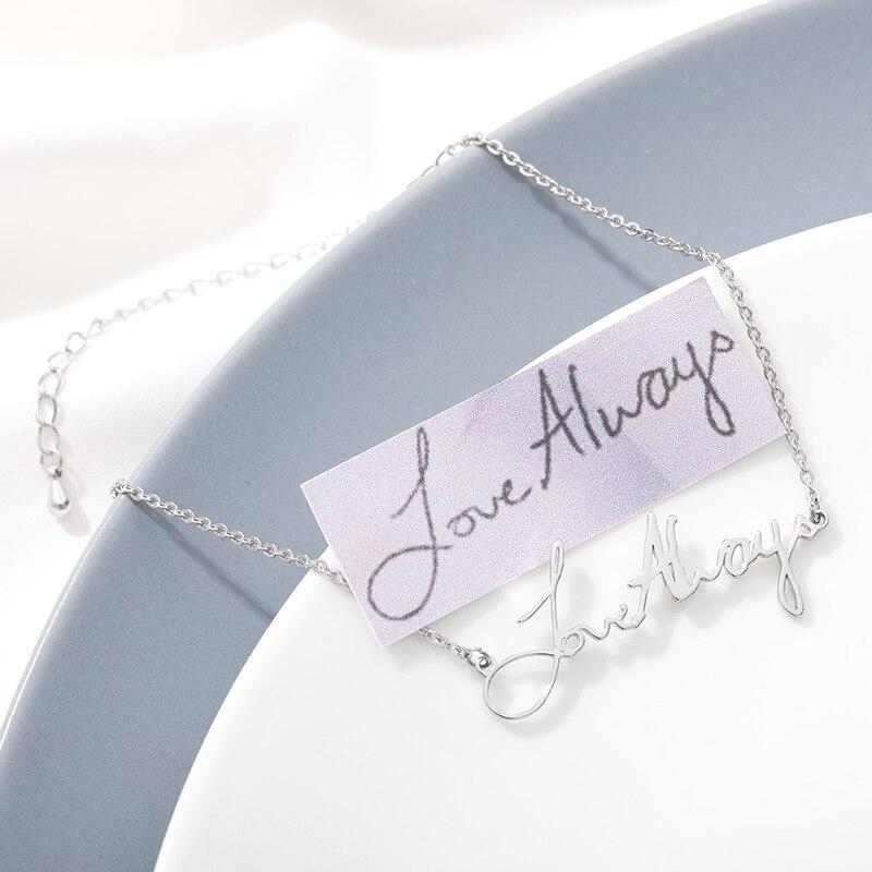Tiny Personalized Bracelet Actual Handwriting Custom Signature Bracelet Name Bracelet Bangle For Women Gift Jewlery BFF