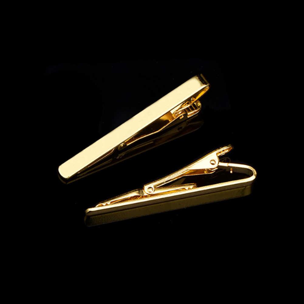 1 قطعة مشبك التعادل نمط الموضة للرجال معدن الفضة الذهب لهجة شريط بسيط المشبك العملي ربطة العنق المشبك أزرار أكمام التعادل كليب