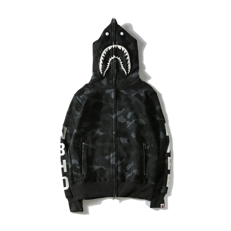 Japanese-style Popular Brand Shark Skull Dark Department Hoodie Social Fella Street Fashion Large Size Loose-Fit Coat
