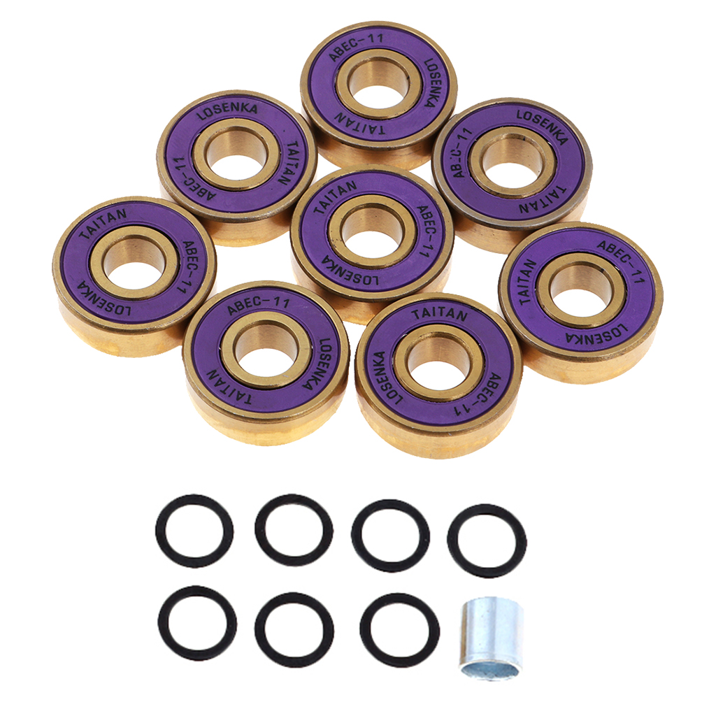 8Pcs Titanium ABEC 11 Bearings With Box For Skateboards Inline Skates