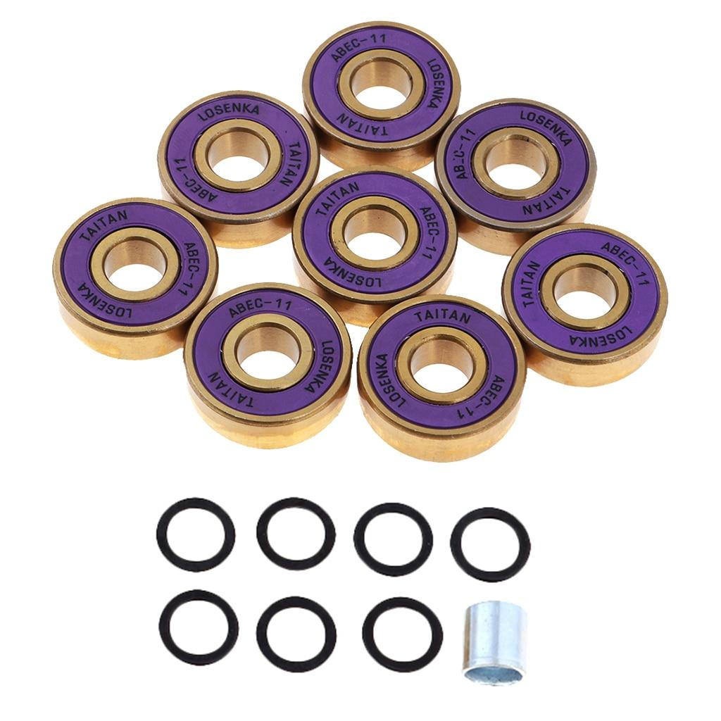 8pcs High Strength Titanium ABEC 11 Bearings With Box Pro Skateboard Bearings For Skateboards Inline Skates