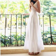 ZOGAA 2019 Women Slim Fit Waist Chiffon Dress Women's Sleeveless Long Dress Elegant White Dress sexy party dress Fit and Flare недорого