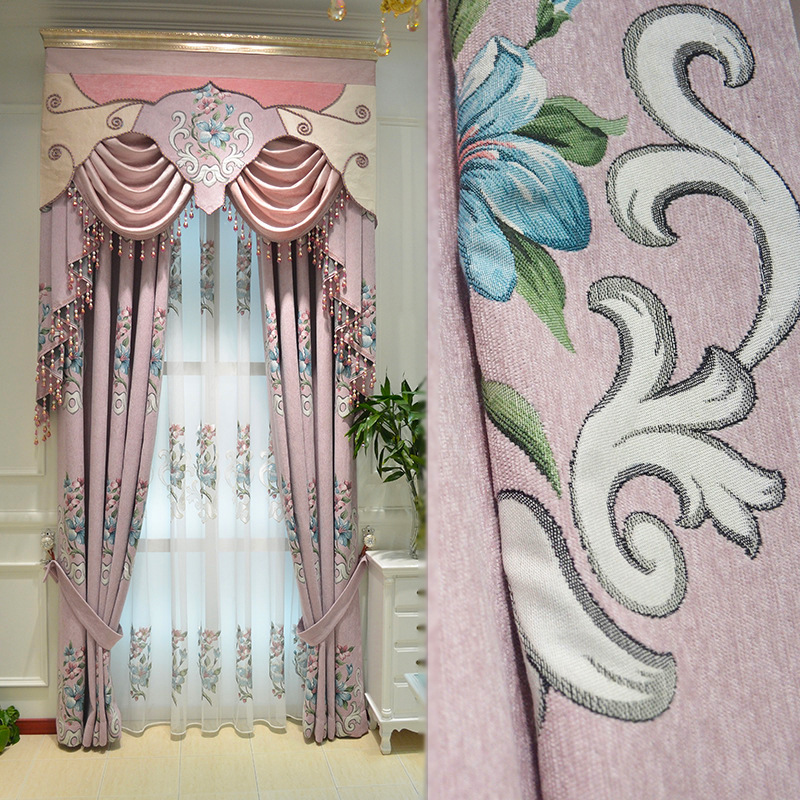 Custom curtains New chenille jacquard pink living room bedroom simple jacquard cloth blackout curtain valance tulle drapes B499