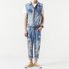 Mens Summer New Sleeveless Denim Jumpsuit Casual Cowboy Slim Fit Hole Ripped Romper Jeans Pants Male Zip One Piece Bib Overalls(China)