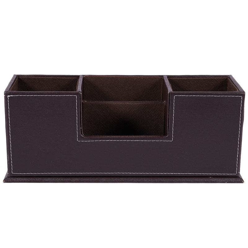 Pu Leather Pen Pencil Stand Marker Storage Box Organizer Case & Business Card Display Stand Pen Holders Office Supplies