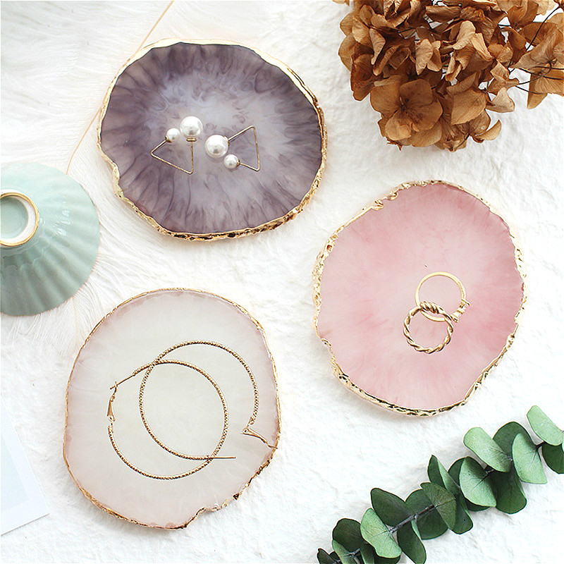 Resin Storage Tray Painted Palette Agate Jewelry Display Plate Necklace Ring Earrings Display Trays Golden Rim Dish Decoration