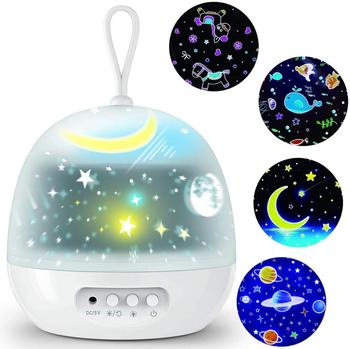 Night Light Projector Delicacy 4 Set Films 360° Rotating 8 Lighting Modes LED Night Lights Lamp for Kids Baby Bedroom Decoration