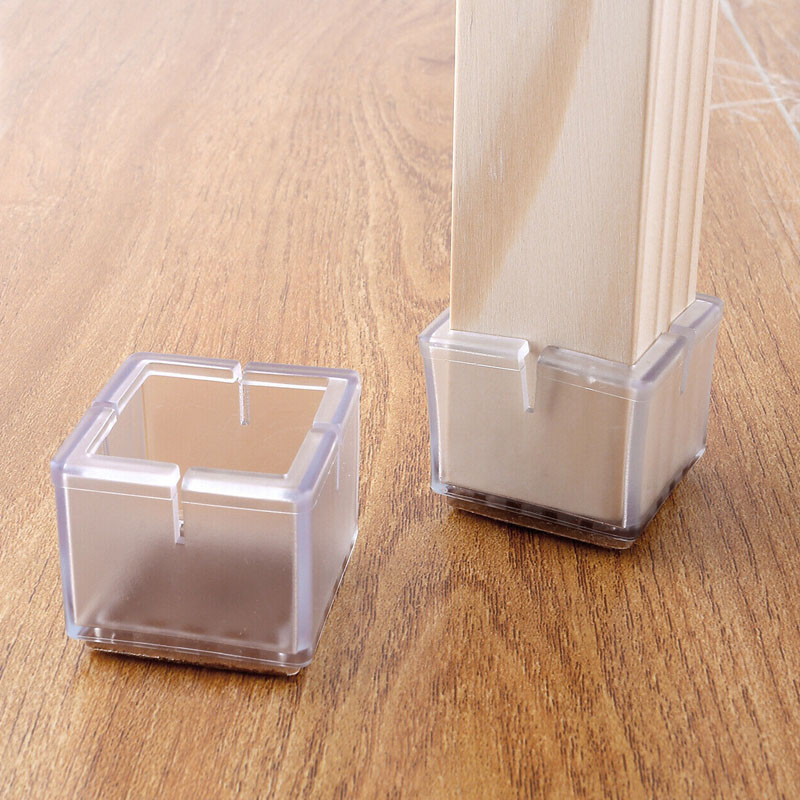 20pcs/sets Silicone Furniture Table Feet Cover Chair Leg Caps Pads Socks Floor Protectors Square Bottom Non-Slip Anti-noise Cups