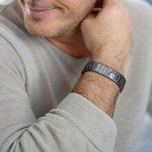 Pulsera de acero inoxidable personalizada para hombre, brazalete negro con nombre personalizado, pulsera de grabado gratis