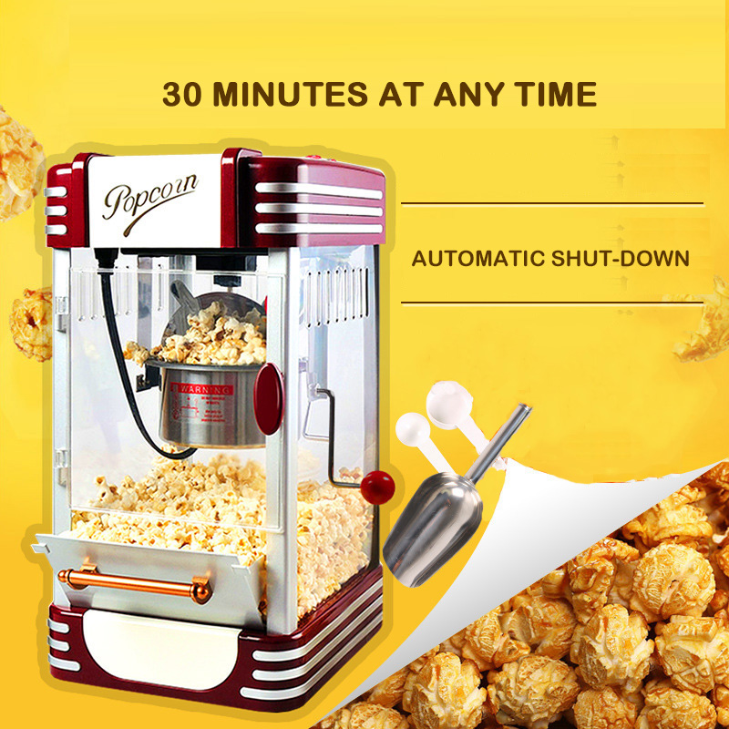 Newpopcorn Machine Commercial Full Automatic Hand-cranked Minismall Children's Popcorn Machine Ball Type Household Grain Wrapper