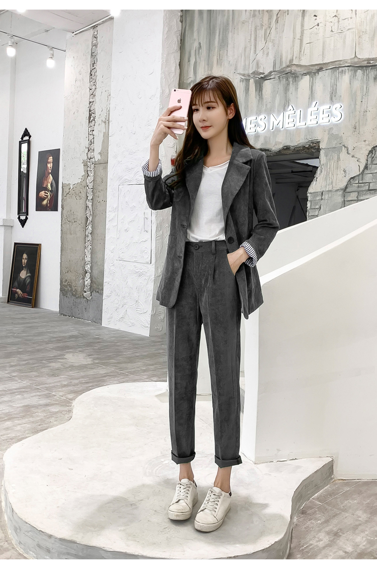 Autumn Winter Blazer Pants Suit Women Korean Chic Fashion Office Ladies Green Corduroy Casual High Waist Small Feet Pants Suit 50