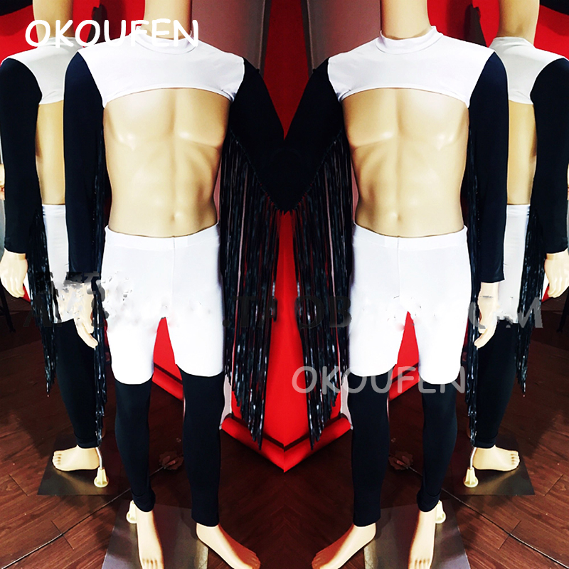 Theme performance party costume dance team leader costume nightclub bar male singer DS sexy muscle tassel costume set