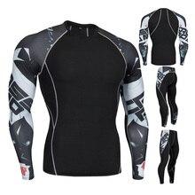2019 new 3D printing set patchwork mens sportswear 2 sets of exercise sweatshirt thermal underwear pants suit
