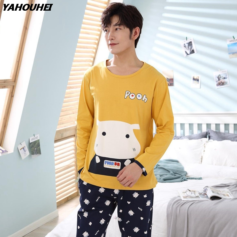 Cotton Pajama Sets For Men 2018 Autumn Winter Long Sleeve Cartoon Pyjama Suit Male Loungewear Homewear Home Clothes High Quality