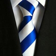 Jacquard Woven Suits Men Slim Necktie For Business Cravats Fashion Classic Blue White Striped 8cm Width Men's Ties Work Gifts